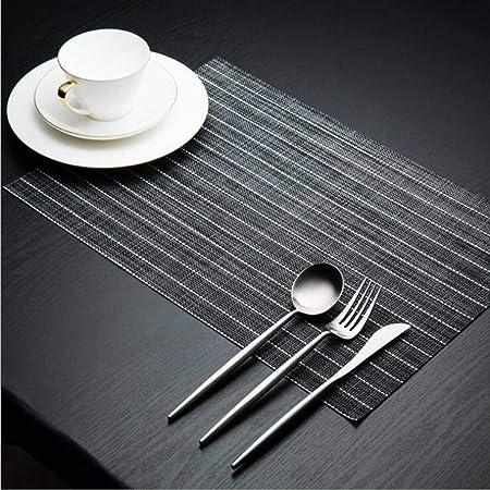 NIKIMI Juego de tapetes de Mesa de Cocina de protección contra el Calor Estera de Mesa de PVC Manteles Individuales Tiras de Mesa de diseño para Mesa de Comedor 2/4/6 Piezas: Amazon.es: