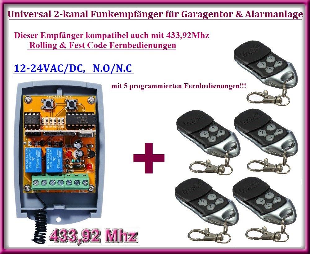 Universal 2-kanal rolling code Funkempfänger + 5 handsender, Zu betreiben jede Garage Tor Automatisierung / Alarmanlage / einige andere Geräte 12-24V DC, 433,92MHz NO/NC