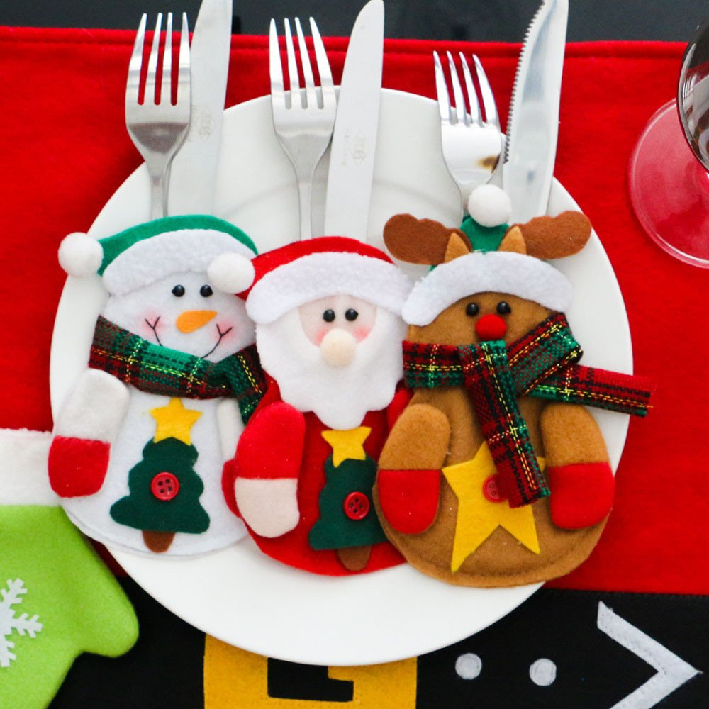 Mlide Santa Claus, Elk, Snowman Style - Christmas Forks Knives Dinner Flatware Decoration Holders Xmas Dinnerware Candy Bag Cover Set Pack 3