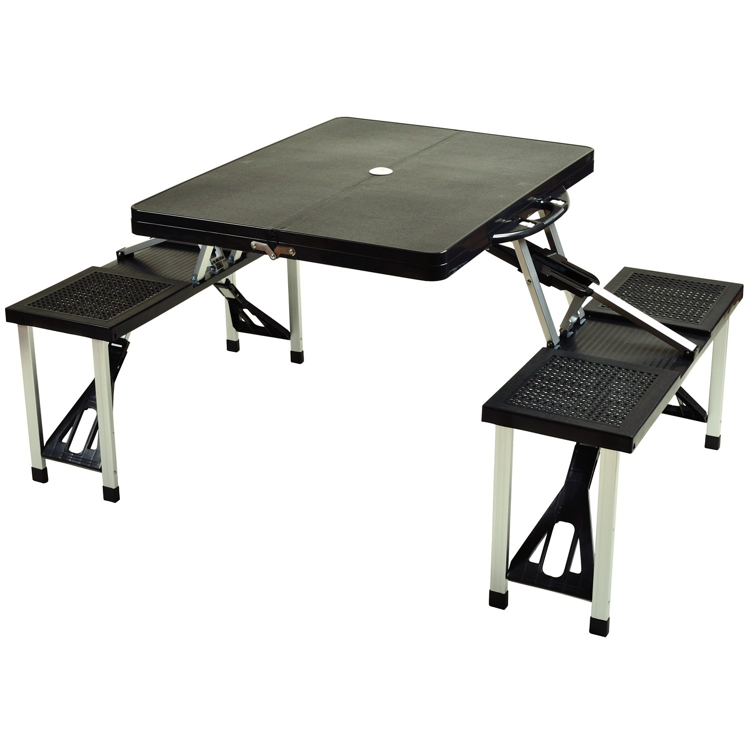 amazoncom picnic at ascot portable folding outdoor picnic table with 4 seats black folding table and bench set patio lawn u0026 garden - Folding Table And Chairs