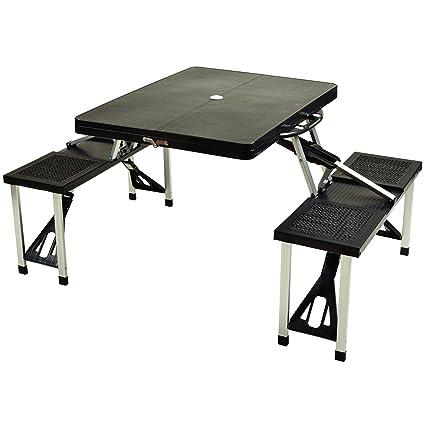 Attirant Picnic At Ascot Portable Folding Outdoor Picnic Table With 4 Seats   Black