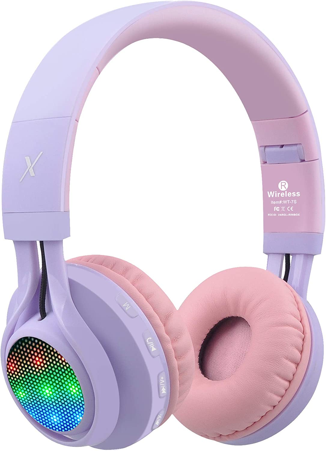 Riwbox WT-7S Bluetooth Headphones Light Up, Foldable Stero Wireless Headset with Microphone and Volume Control for PC/Cell Phones/TV/iPad (Purple) (Renewed)