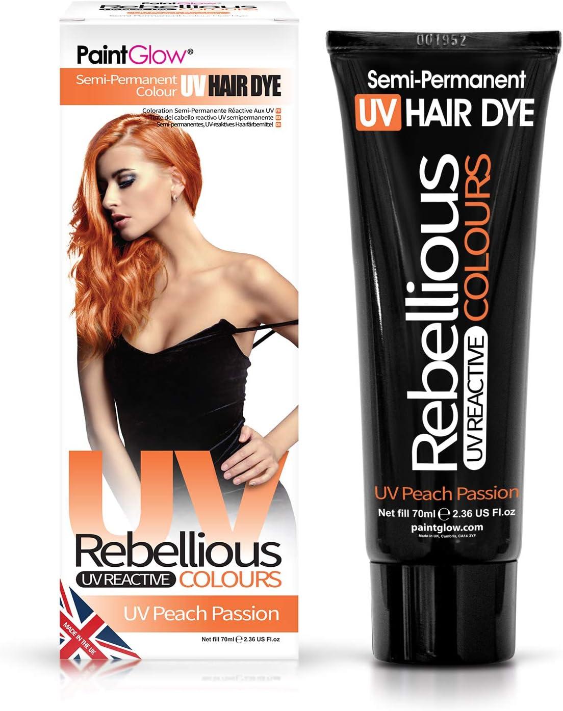 PaintGlow - Tinte semipermanente para el cabello (70 ml), color neón brillante que brilla bajo la luz ultravioleta, vegano y sin crueldad