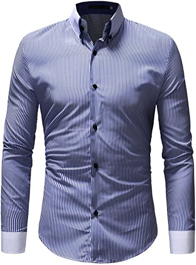OHQ_Camisa Hombre Blusa OtoñO Moda 2018 Invierno Casual Rayas Manga Larga BotóN Camiseta T-Shirt Blusa Pantalones Chaleco Tapas Camisas Polo Ropa Interior Tops: Amazon.es: Ropa y accesorios