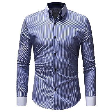 8aa5168cf7c6e OHQ Camisa Hombre Blusa OtoñO Moda 2018 Invierno Casual Rayas Manga Larga  BotóN Camiseta T-Shirt Blusa Pantalones Chaleco Tapas Camisas Polo Ropa  Interior ...