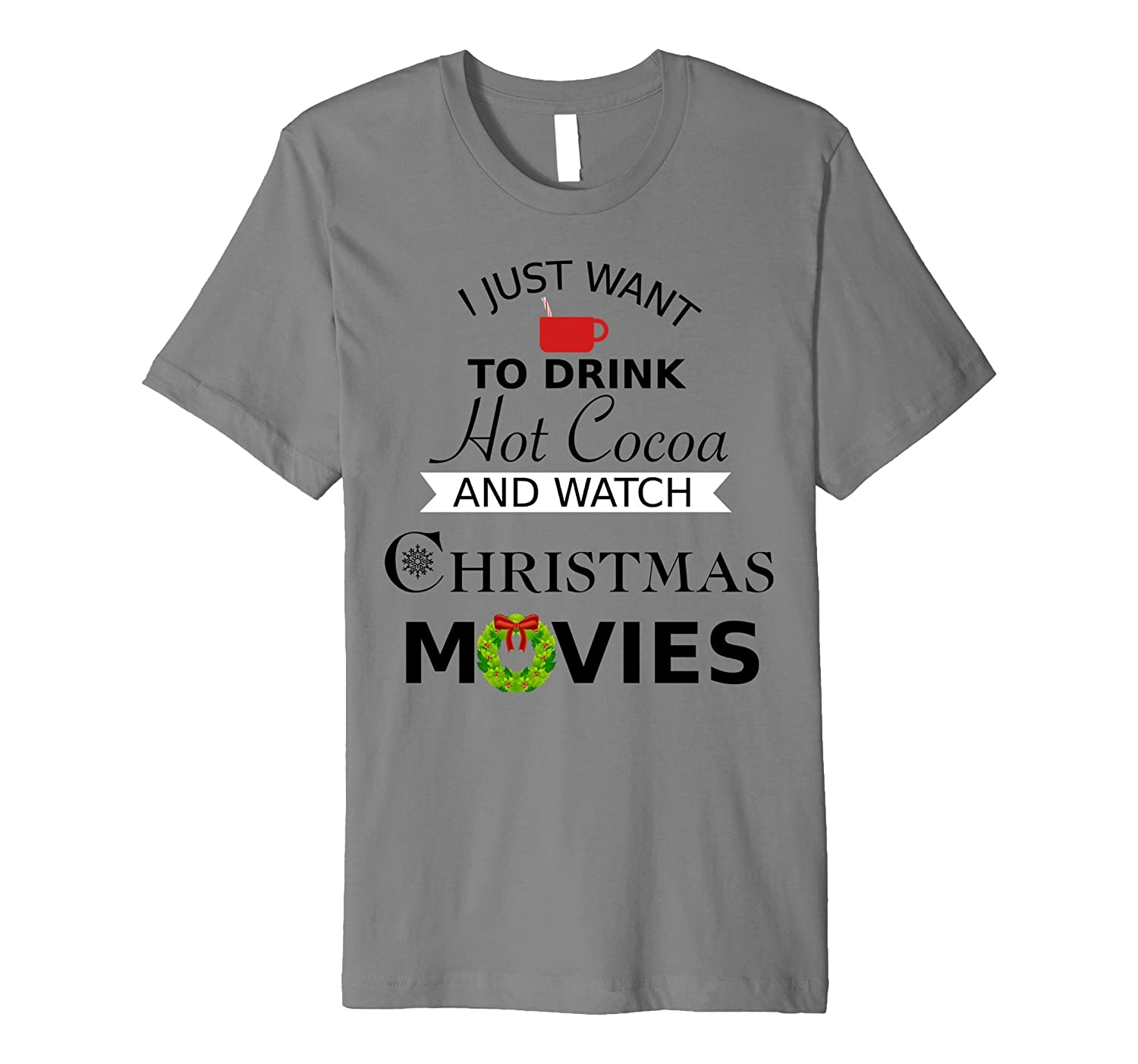 Cute Christmas T-Shirt with Hot Cocoa and Movies Black Font-ANZ