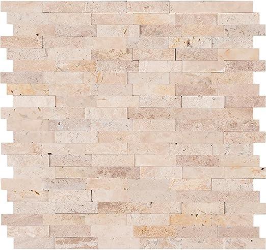 Vogue Peel & Stick Ivory Travertine Honed and Split Face Mix Brick Pattern  Mosaics for Kitchen Backsplash & Wall Tile (5)