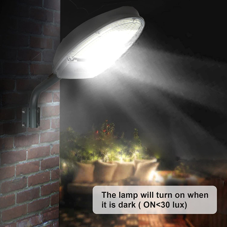 24W Warm White Light LED Street Area Lighting 2500lm 144 LEDs 3300K Dusk to Dawn Sensor IP65 Security Floodlight Yard Wall Post Warm Outdoor Lights