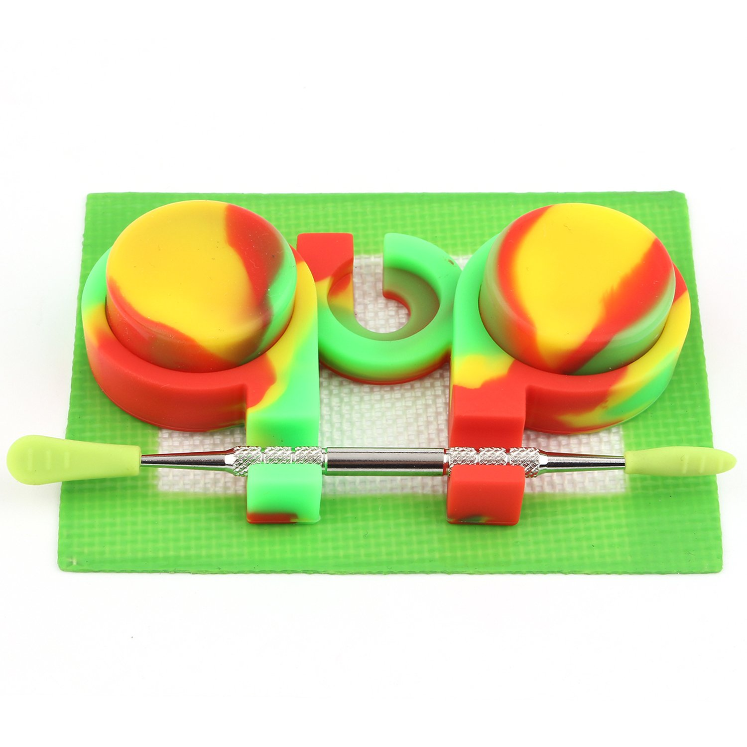 CEOKS 3ml Non-Stick Silicone Container (2pcs) and Container Holder (1) and Stainless Steel Wax Carving Tool 4.75 (1) and Silicone Wax Mat 4.3 x 3.3(1) (red/Yellow/Green)