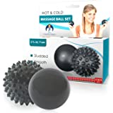 Dr. Frederick's Original Advanced HOT & COLD Massage Balls - 1 Spiky 1 Smooth - Physician Developed For Feet Pain - Plantar Fasciitis - Back Pain Myofascial Release - Deep Tissue Massage