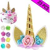 Amazon Com Palksky Handmade Gold Unicorn Birthday Cake Toppers Set