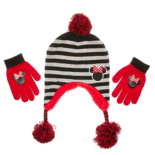 f784f407766 Image Unavailable. Image not available for. Color  Girls Minnie Mouse Pom  Pom Peruvian Hat   Gloves Set One Size