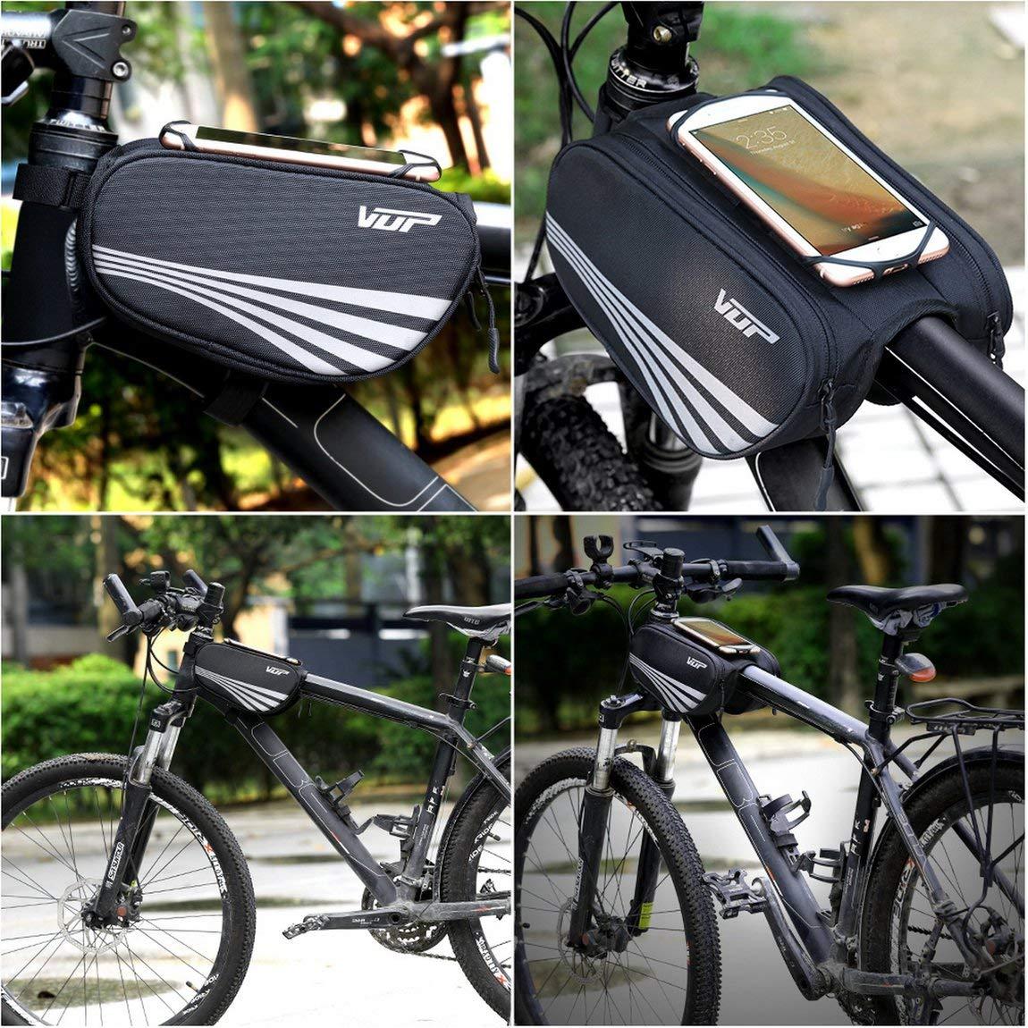 Color: Negro 73JohnPol Impermeable VB-016 Ciclismo Bicicleta Tubo Delantero Bastidor del Bolso Mountain MTB Bike Pouch Holder Saddle Bag Phone Pouch Bag