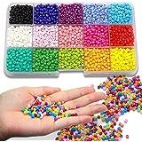 Ewparts 3mm Mini Perles en plastique de verre pour enfants Bracelet de bricolage Art & Bijouterie, Ensemble de fabrication de cordes en perles, Sans éraflure Couleur (Full color)