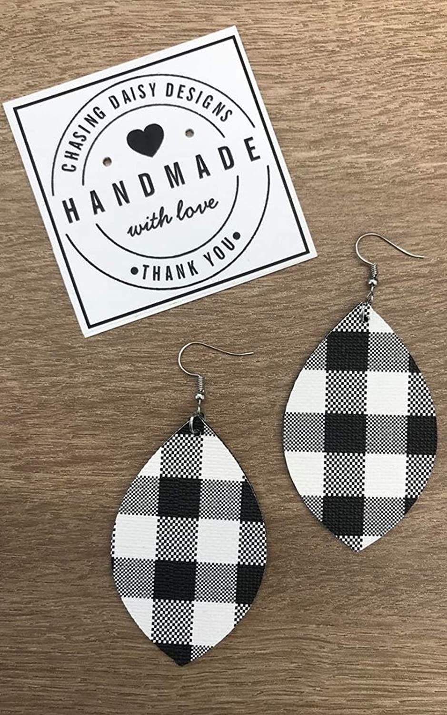 Black and White Plaid Handmade Genuine Leather Swoop Earrings