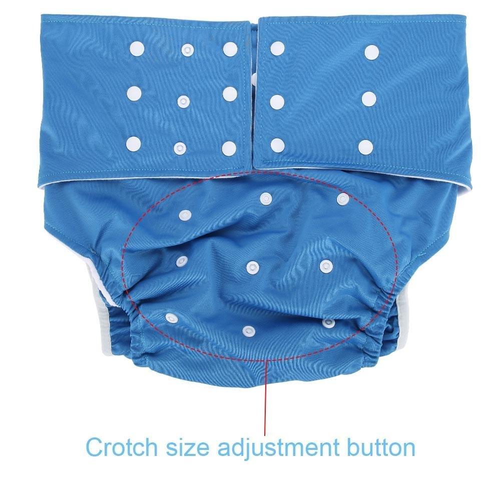 Couche Lavable Adulte Ajustable R/éutilisable Pantalon dincontinence Nappy Invalidit/é Culottes de Couches avec 2pcs Insert Pads