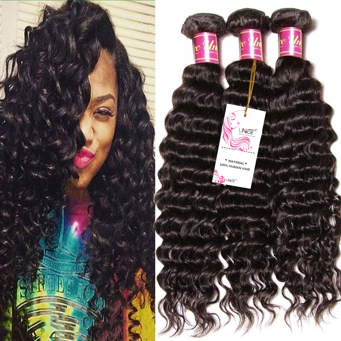 Amazon Unice Hair Good Quality Peruvian Virgin Hair Deep Wave