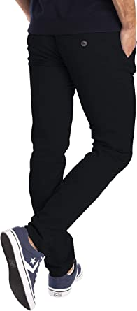 Mens Stretch Skinny Slim Fit Chino Pants Flat Front Casual Super Spandex Trouser