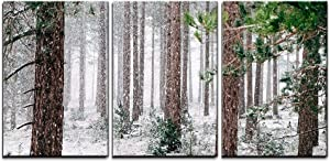 """wall26 - 3 Piece Canvas Wall Art - Pine Trees Covered with Snow - Modern Home Art Stretched and Framed Ready to Hang - 24""""x36""""x3 Panels"""