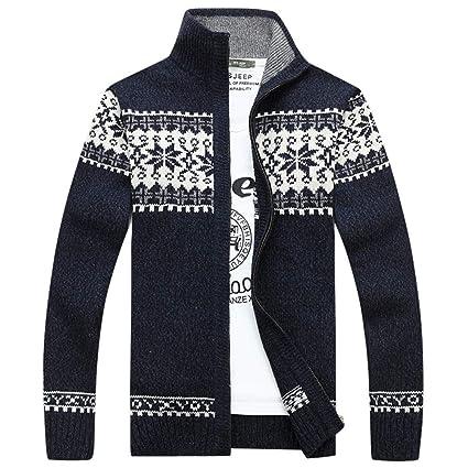Amazon.com: Chaqueta de punto para hombre de invierno casual ...