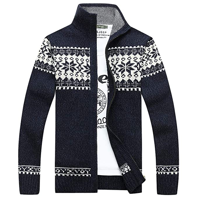 Amazon.com : Jacket Men Winter Casual Fashion Clothing Sale Hoodies Man Zip Autumn Winter Coats Mens Jacquard Slim Neck Collar Knitted Leisure Jacket ...