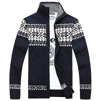 Chaqueta Punto para Hombre, Hombres Otoño Invierno Jacquard Slim Cuello Collar De Punto Ocio Chaquetas Abrigos Jersey De Punto Suéter para Hombre: ...