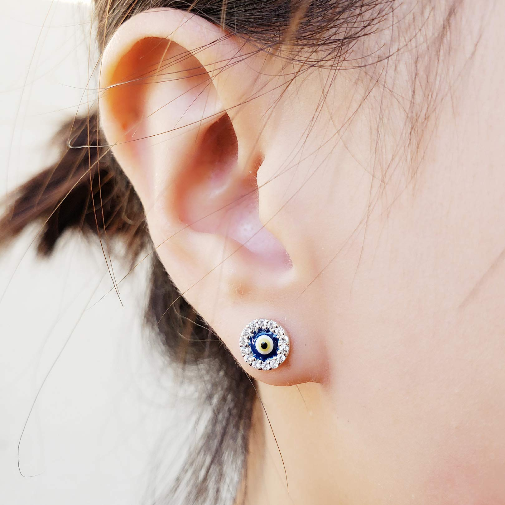 Rhodium-Plated Sterling Silver Cubic Zirconia with Resin Mini Round Shape Evil Eye Stud Earrings