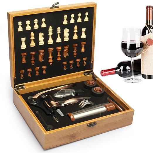 3 opinioni per Set vino Yobansa da 7 pezzi in scatola di bambù con scacchi e apribottiglie. Set