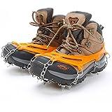 靴底用滑り止め ,QUNQI 10本爪 アイゼン ステンレス製 スノースパイク スノーチェーン 転倒防止 雪山 登山 釣り トレッキングなどに 男女兼用 収納袋付き(オレンジ)