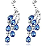 YELLOW CHIMES Mayur Blue Austrian Crystal Austrian Crystal Peacock Earrings for Women and Girls