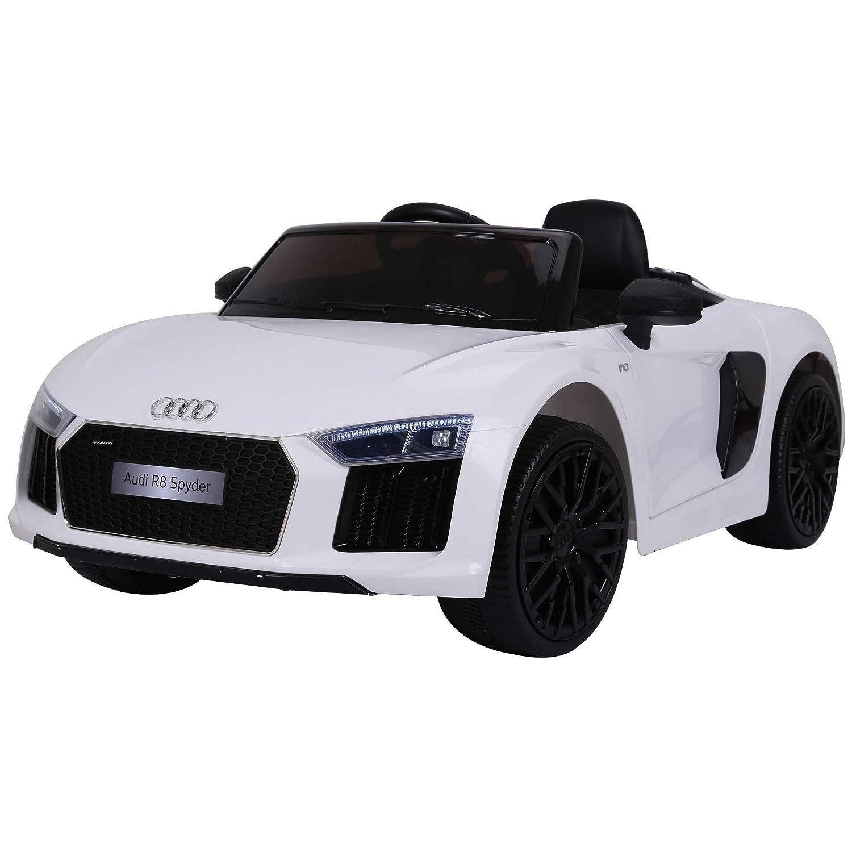 Weiß Homcom Elektroauto für Kinder, 3-8 Jahre, Audi R8 mit Fernbedienung, MP3, USB-Lichter und Sounds, Sitz aus Leder, Türöffnung, 123 x 71 x 49 cm, max. Traglast 30 kg weiß