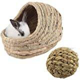 kathson Woven Pet hay Bed for Hamsters, Guinea-Pigs, Rabbits and Cats (1ball+Bed)