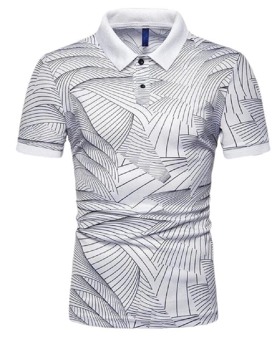HTOOHTOOH Men Printed Shirt Regular Fit Casual Short Sleeve Polo Shirt