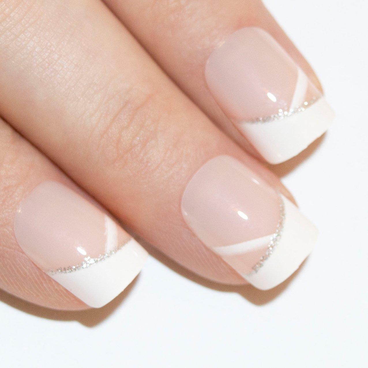 Art Bling künstliche Nägel Maniküre Französische White Glitter 24 ...