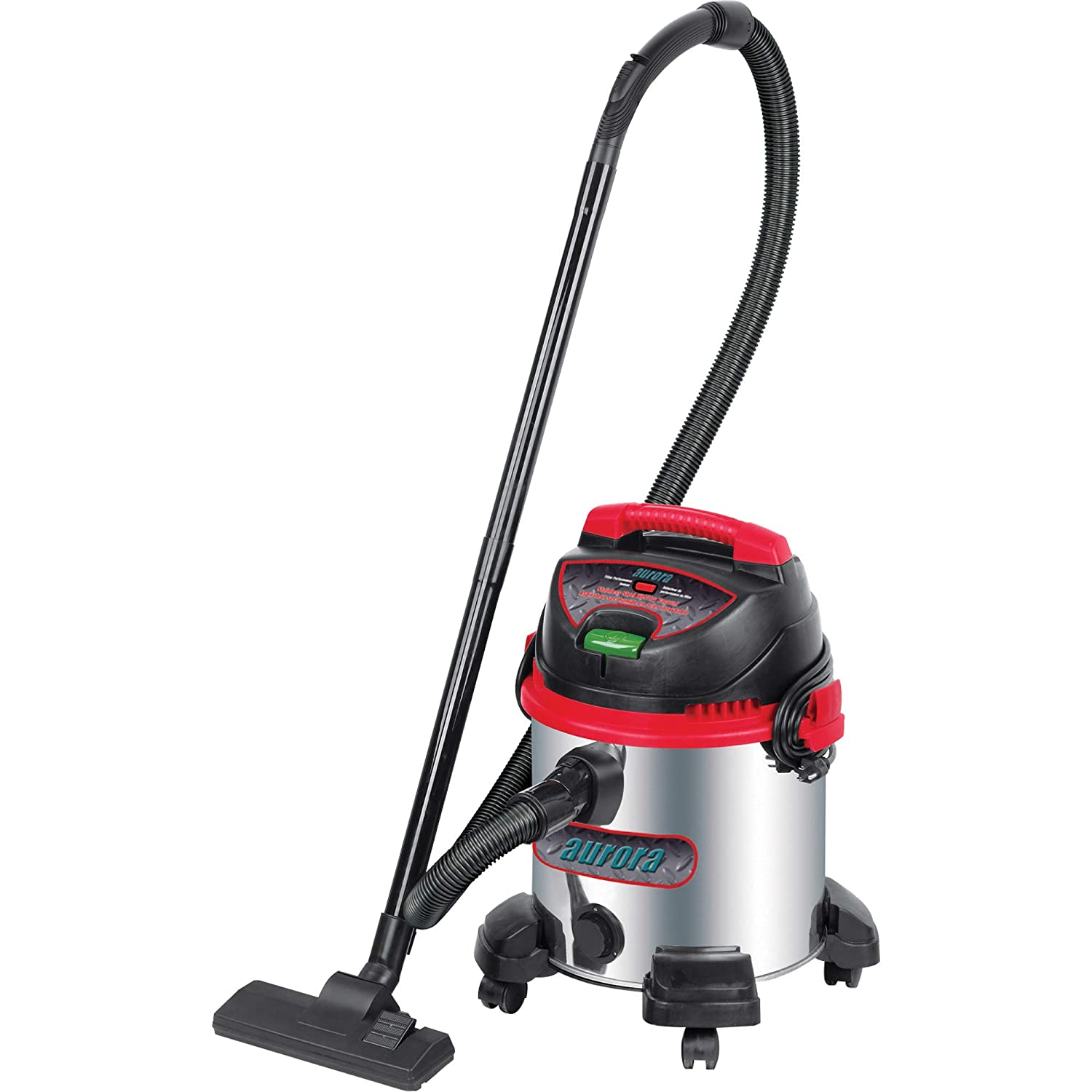 Aurora Tools Industrial Wet/Dry Stainless Steel Vacuum, 5.5 Peak HP, Tank Capacity: 8 US Gal. (30.2 litres)