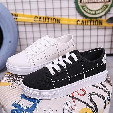 QinMM Zapatillas de Lona Running Deporte con Cordones para Mujer Zapatillas Deportivas Zapatos para Correr Fitness Sneakers Planas Zapatos de Gimnasia: Amazon.es: Zapatos y complementos