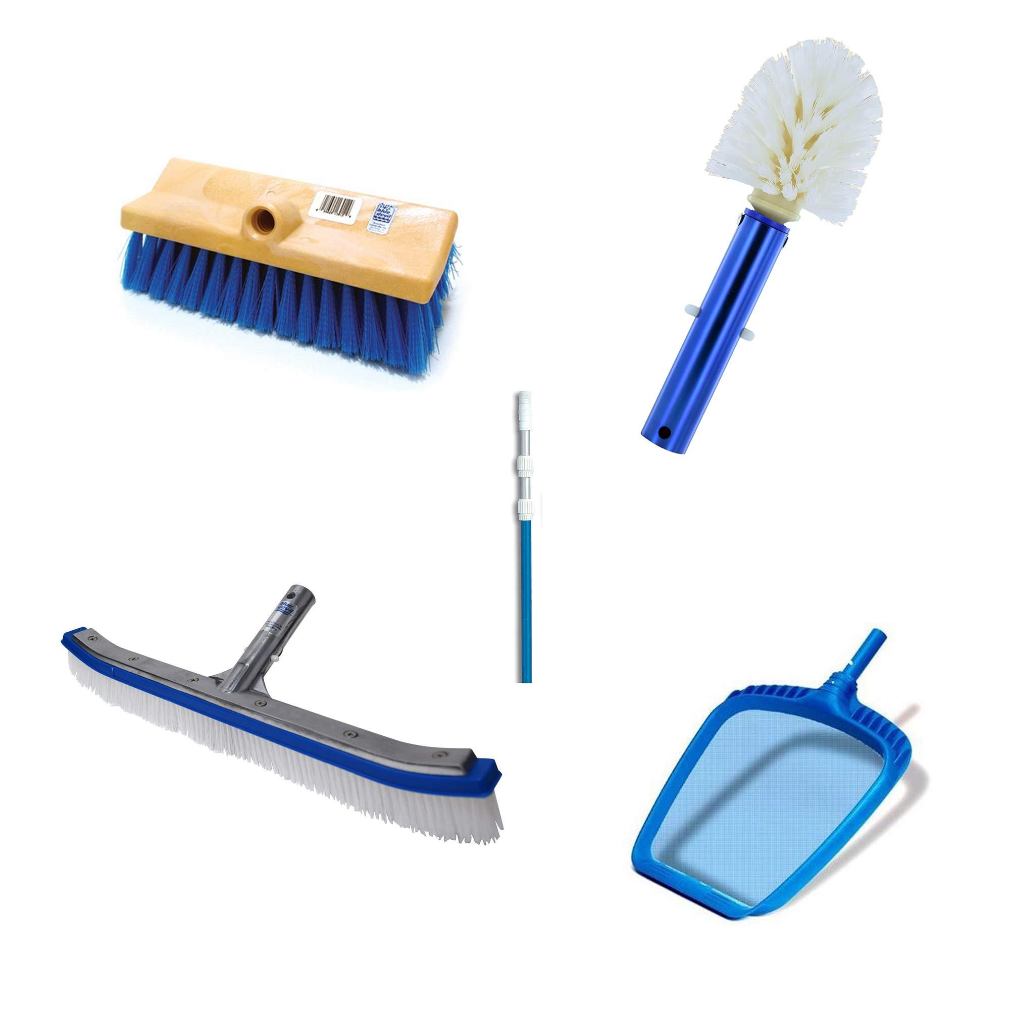 Blue Devil 18 Inch Brush, 360 Brush, Deck N Acid Brush, HydroTools Pole and Net by Blue Devil