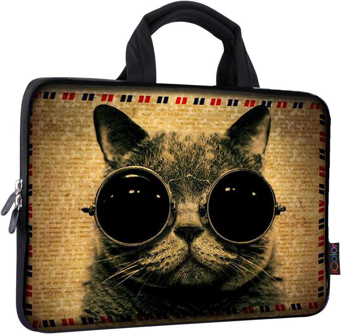 iColor 14 15 15.4 15.6 inch Laptop Handle Bag Computer Protect Case Pouch Holder Notebook Sleeve Neoprene Cover Soft Carring Travel Case Laptop Sleeve Cat ICB-07