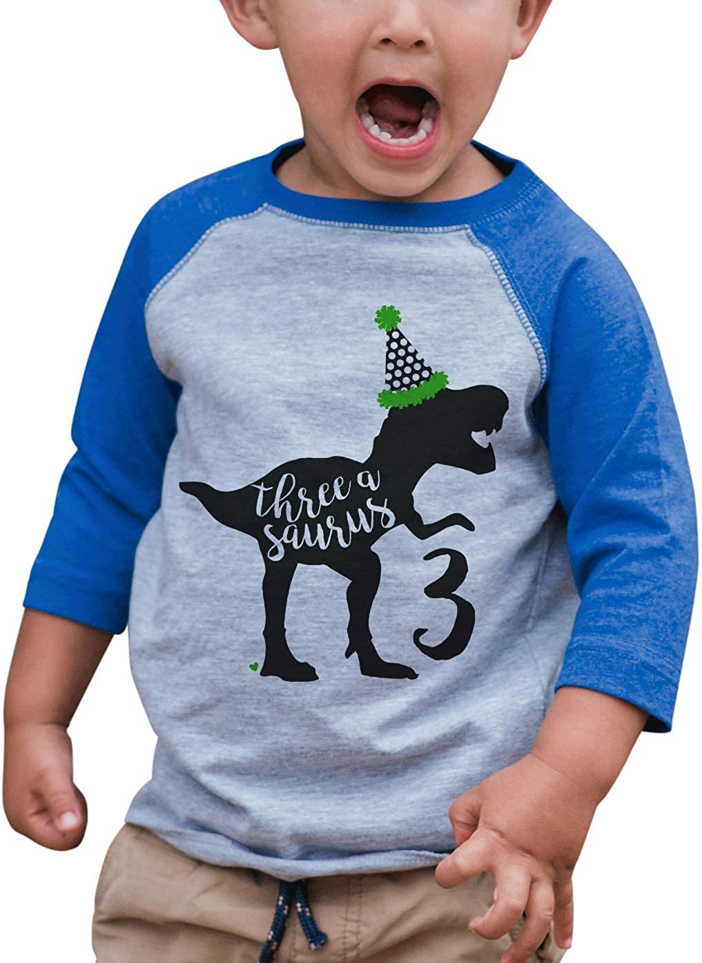 7 ate 9 Apparel Kid's Three Dinosaur Birthday Blue Raglan Tee 714pZjIH4ML