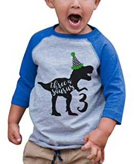 66be6117a Amazon.com: 7 ate 9 Apparel Dino Three Birthday Dinosaur T-Shirt ...
