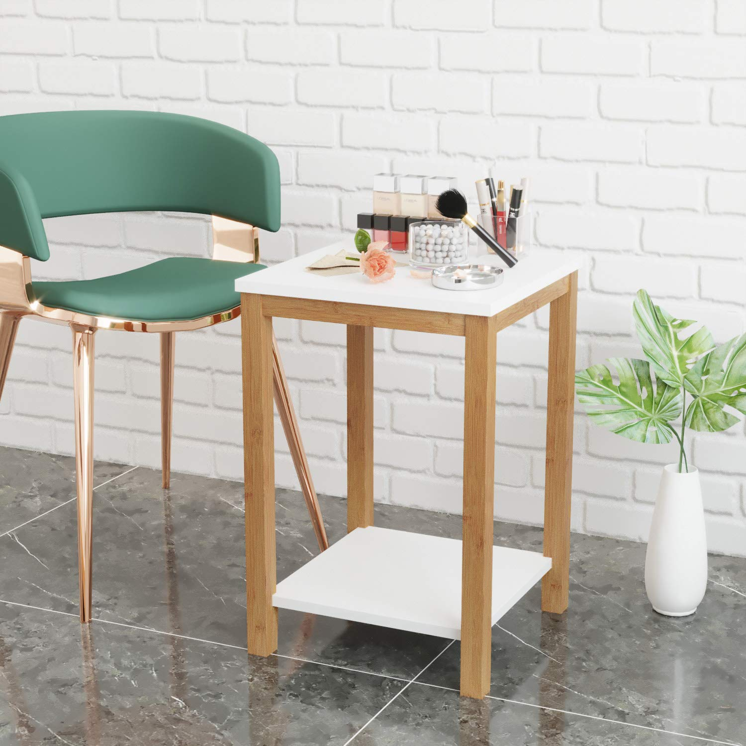 BAMEOS Side Table Modern Industrial End Table, 2-Tier Side Table with Storage Shelf, Accent Coffee Table for Living Room Bedroom Balcony Family and Office in White Color by BAMEOS