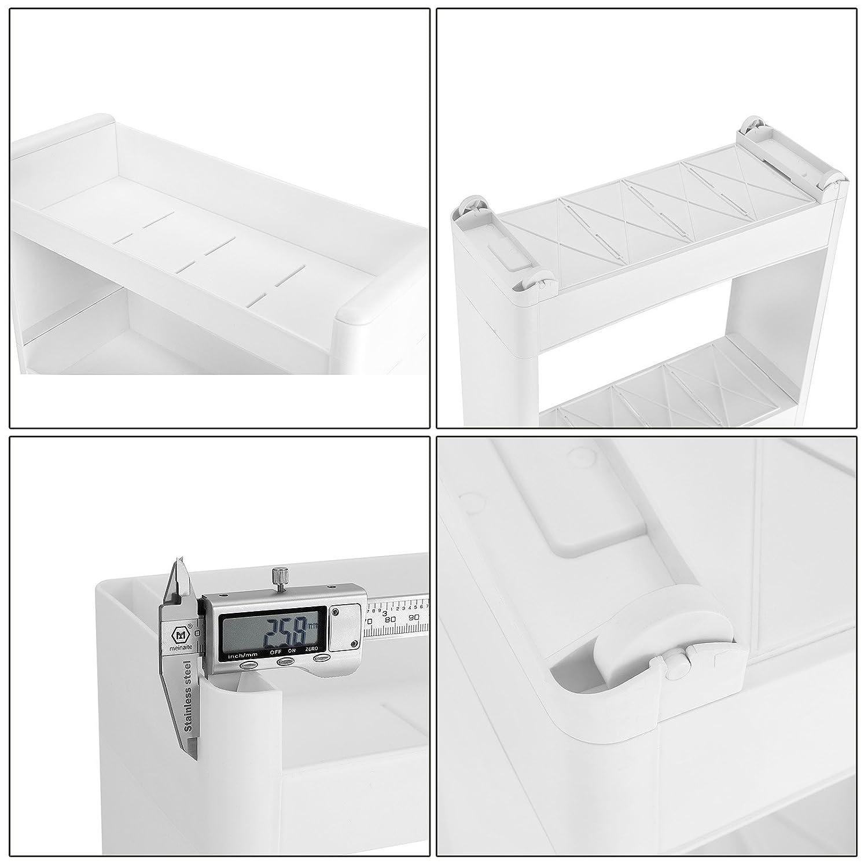 SONGMICS Tour de Rangement sur roulettes Resserre de Cuisine Fine /étag/ère de Rangement /à 4 Niveaux en Plastique pour Cuisine Salle de Bain Blanc 45 x 17 x 91 cm KFR10WT