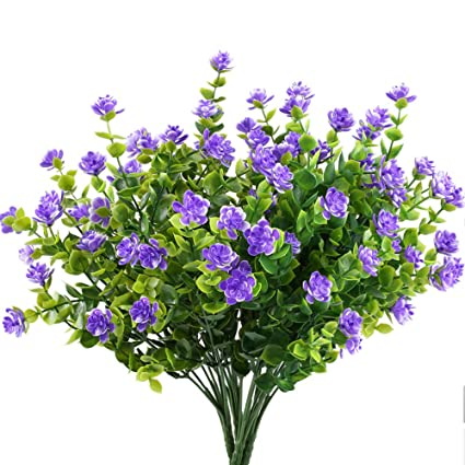 MIHOUNION fiori di plastica 4 pcs piante finte pianta verde arbusti rami di  eucalipto con fiore