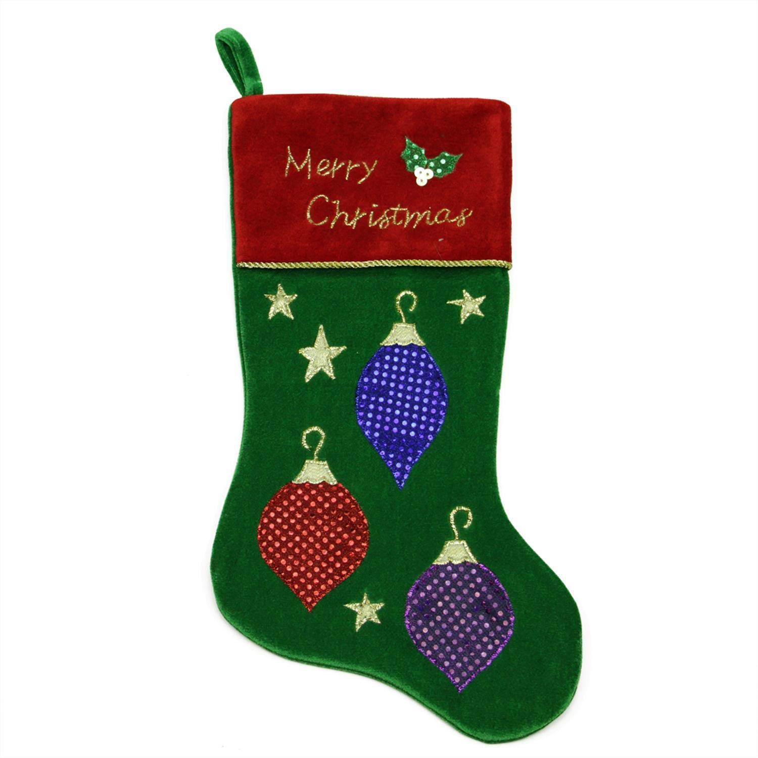 c68b8d9e670 Christmas Stocking Classic Green Embroidered Velveteen Traditional Elegant Xmas  Tree Stocking Solid Family Presents Stocking Red Cuff Christmas Ornament ...