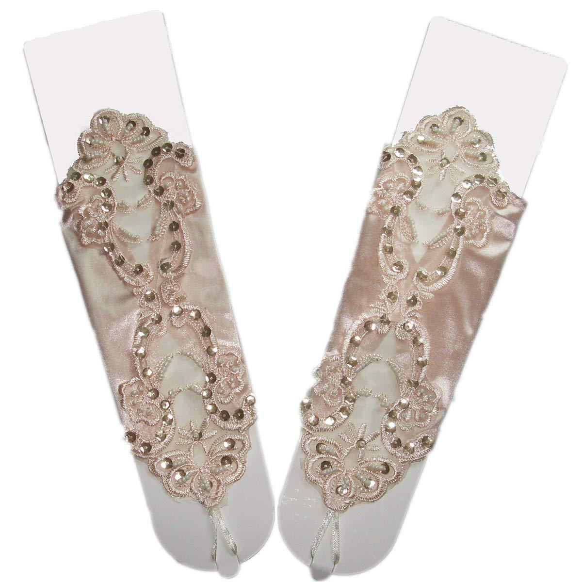 guanti da sposa lunghi senza dita in pizzo Shangrui Guanti da sposa da donna senza dita