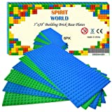 """Base Plates 5""""x10"""" Variety Baseplates for Brick Block Building Compatible all Major Brands Blue and Green Baseboard With Pin-"""