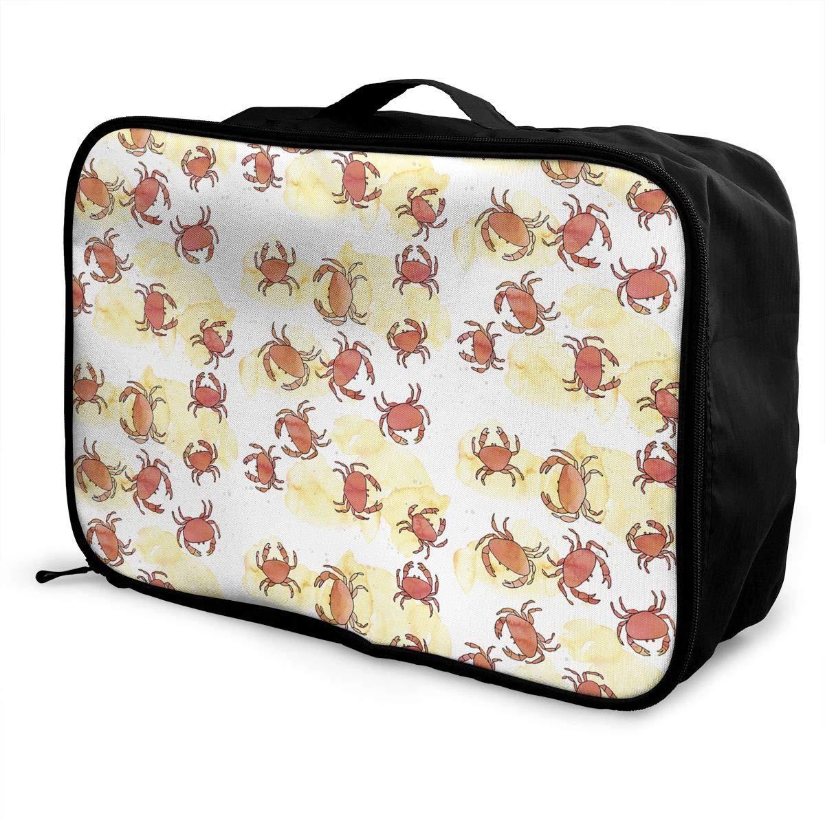 Travel Luggage Duffle Bag Lightweight Portable Handbag Pink Crab Print Large Capacity Waterproof Foldable Storage Tote