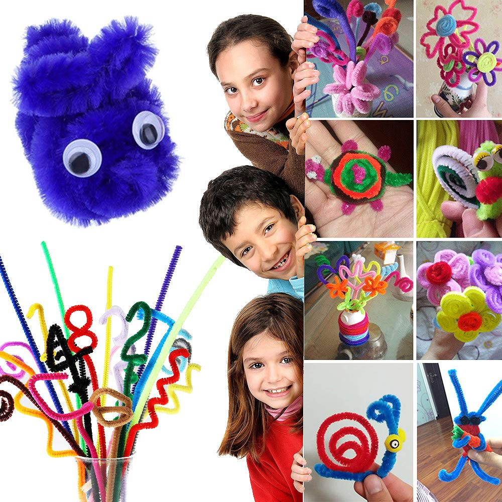 6 mm x 12 inch 1000 Pcs Pipe Cleaners Chenille Stems with 100 Accessories,10 Assorted Colors for DIY Art Craft Decorations