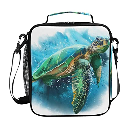 dc76861733 Image Unavailable. Image not available for. Color: JOYPRINT Lunch Box Bag  Watercolor Art Sea Ocean Turtle Lunchbox Insulated ...