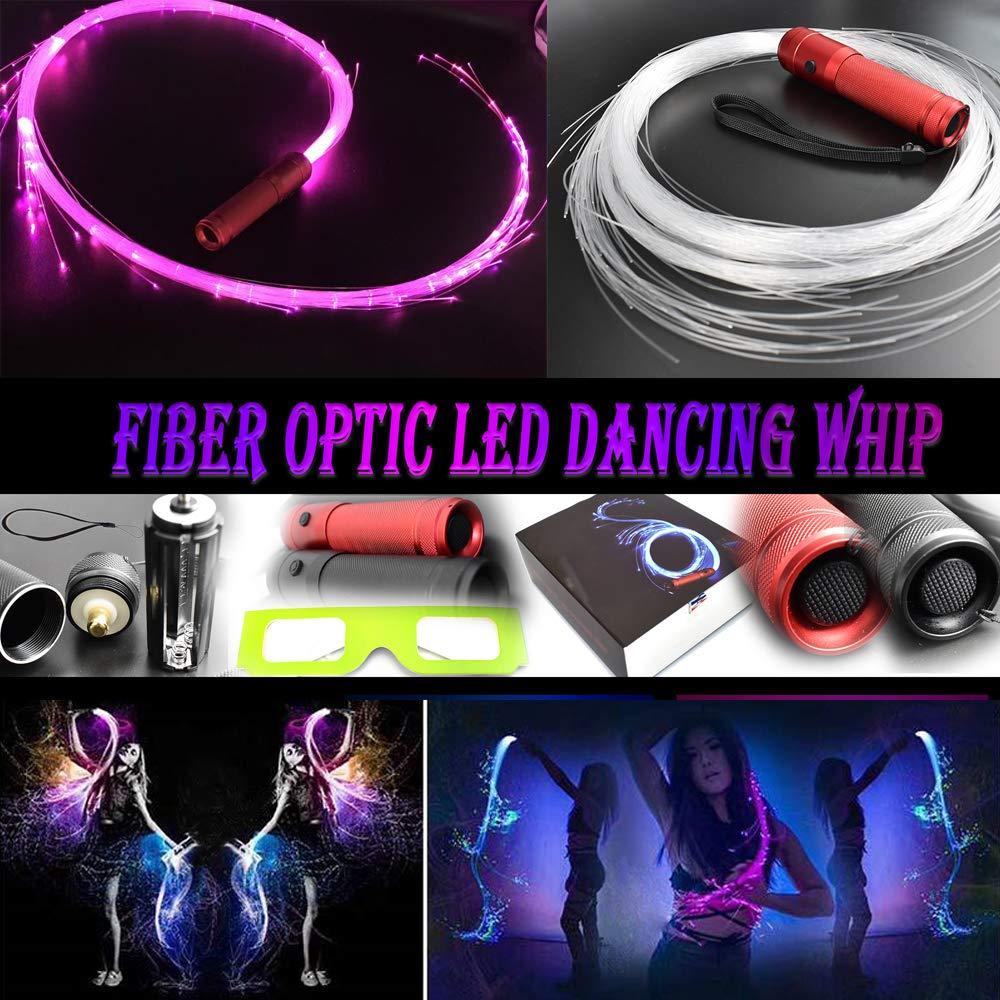 COMLZD 2 Pack Fiber Optic Dance Whip Light-up Led Lights Rave Party for Dancing Party Favor by COMLZD (Image #2)